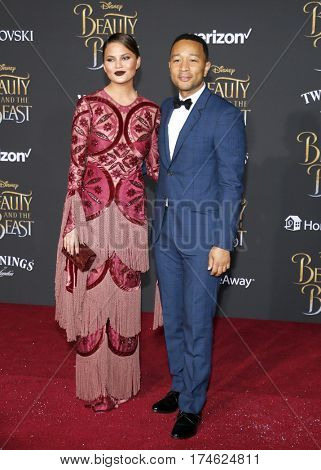 John Legend and Chrissy Teigen at the Los Angeles premiere of 'Beauty And The Beast' held at the El Capitan Theatre in Hollywood, USA on March 2, 2017.