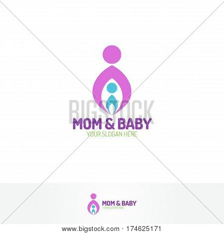 Mom and baby logo with silhouette mother and child color flat modern style for use medicine center, pregnancy yoga, family company and etc. Vector Illustration