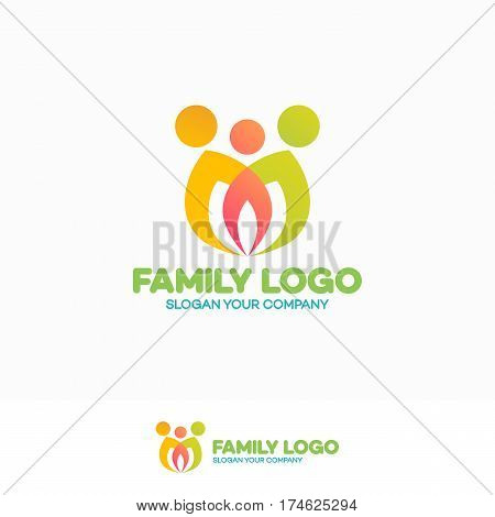 Family logo consisting of simple figures mom, dad and child used for family medicine practice, people logo, team, group, friendship. Vector Illustration