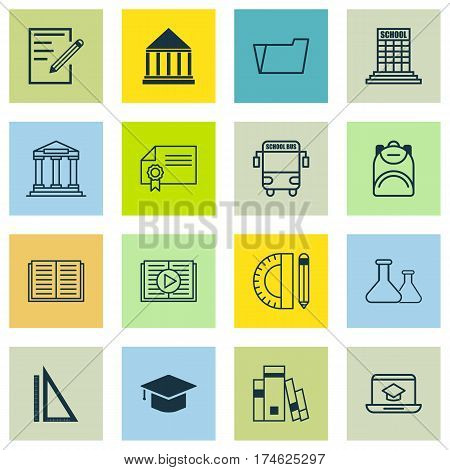 Set Of 16 School Icons. Includes Haversack, Graduation, Education Center And Other Symbols. Beautiful Design Elements.