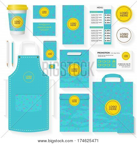 Coffee shop corporate identity template set turquoise color with memphis geometric pattern and place for logo. Restaurant cafe set card, flyer, menu, package, uniform design set. Vector Illustration