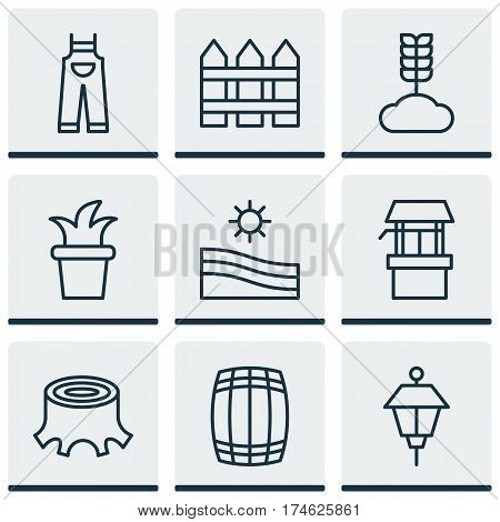 Set Of 9 Plant Icons. Includes Water Source, Cereal, Tree Stub And Other Symbols. Beautiful Design Elements.