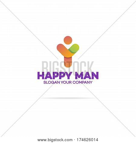 Happy human logo with silhouette man with hands up on white background for use healthy, sport and fitness company, support and care firm, success emblem etc. Vector Illustration