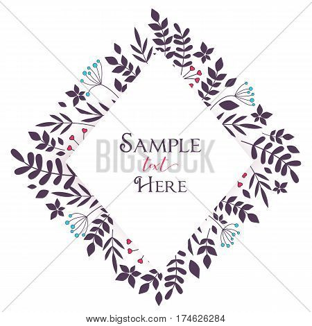 Vector floral decoration branches with leaves in the frame, romantic background with place for text