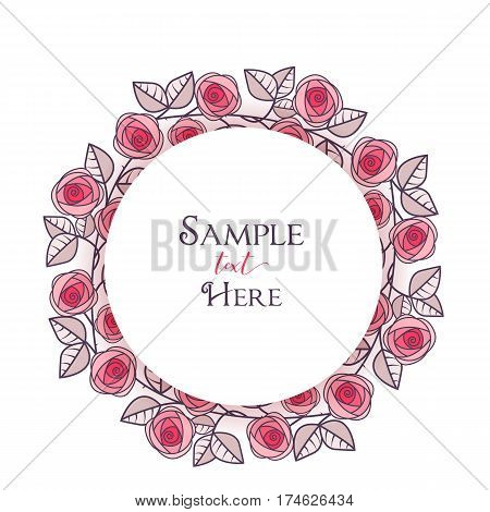 Vector illustration of roses frame, romantic decoration flowers with leaves