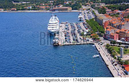 Seaport in the city of Rovinj. Berth. Croatia.