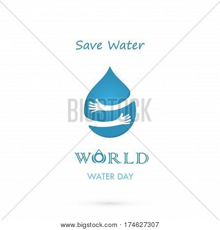 Water drop with human hand vector logo design template.World Water Day idea campaign for greeting card and poster.Vector illustration