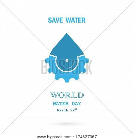 Water drop with cog icon vector logo design template.World Water Day idea campaign for greeting card and poster.Vector illustration