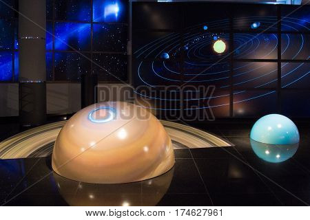 Moscow,russia - November 4, 2016: Solar System Model In Moscow Planetarium