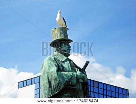 Statue of one of the greats of Norwegian literature, Alexander Kjelland, in the Market Square in Stavanger