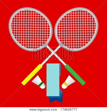 2 Badminton rackets with 2 shuttlecock with long badge that can type word inside.