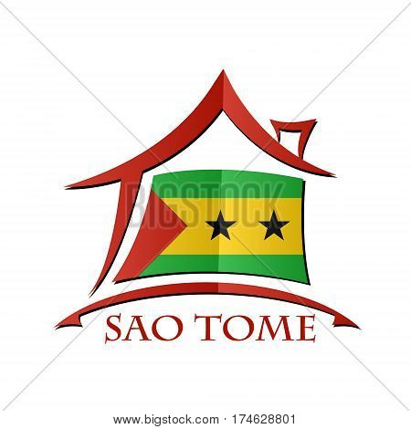 House icon made from the flag of Sao Tome