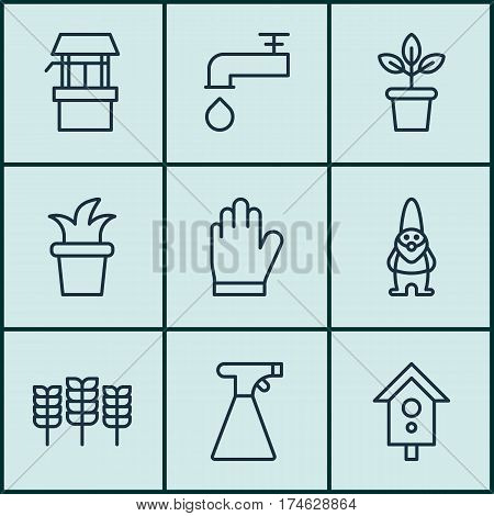 Set Of 9 Garden Icons. Includes Water Source, Birdhouse, Wheat And Other Symbols. Beautiful Design Elements.