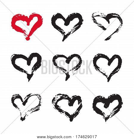 Ink hearts card. Set of 9 hand painted ink hearts. Graphic design element for web sites, stationary printables, fabric, scrapbooking etc.