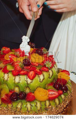 Wedding cake with figurines. Wedding cake. figurines