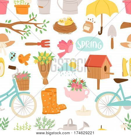 Spring natural floral symbols with blossom gardening tools beauty design and nature grass season branch elements vector illustration. Birds and animals outdoor concept. Seamless pattern background