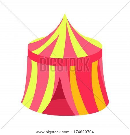Pink And Yellow Circus Kiosk Canopy, Fairy Tale Candy Land Fair Landscaping Element In Childish Colorful Design Isolated Object. Sweet landscape Clipart Item In Bright Color Vector Illustration.