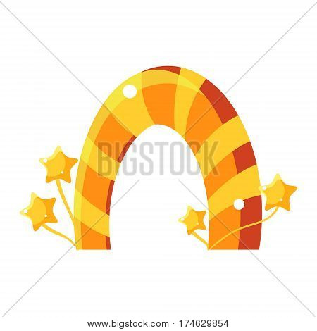 Orange And Yellow Caramel Stripy Arch, Fairy Tale Candy Land Fair Landscaping Element In Childish Colorful Design Isolated Object. Sweet landscape Clipart Item In Bright Color Vector Illustration.