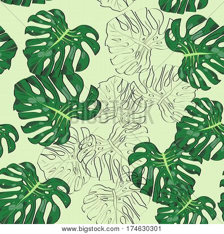 Seamless Pattern With Hand Drawn Tropic Monster Leaves.