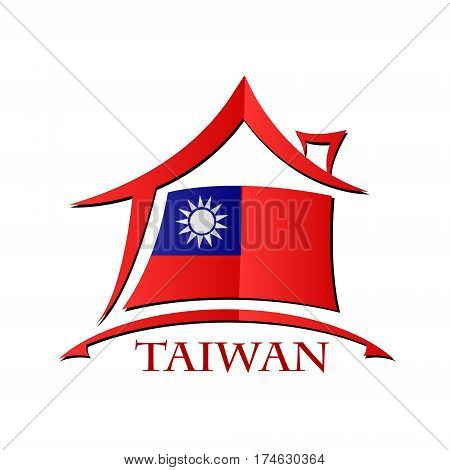 House icon made from the flag of Taiwan