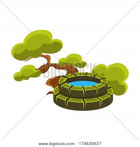 Green Tree And Well, Bonsai Miniature Traditional Japanese Garden Landscape Element Vector Illustration. Japan Culture Mini Plant Growing Art Isolated Landscaping Item