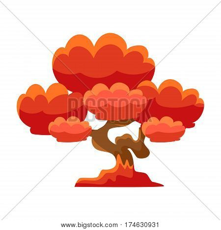 Red Tree Bonsai Miniature Traditional Japanese Garden Landscape Element Vector Illustration. Japan Culture Mini Plant Growing Art Isolated Landscaping Item