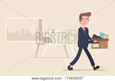 Businessman fired. Vector illustration in a flat style.