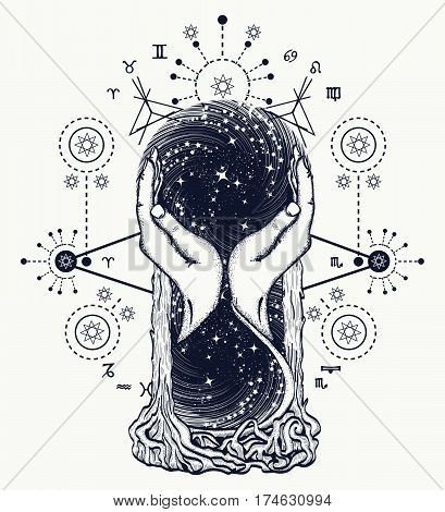 Space hourglasses tattoo concept of time. Symbol astrology infinity eternity life and death mystical tattoo. Hourglass astrological symbols tattoo art and t-shirt design