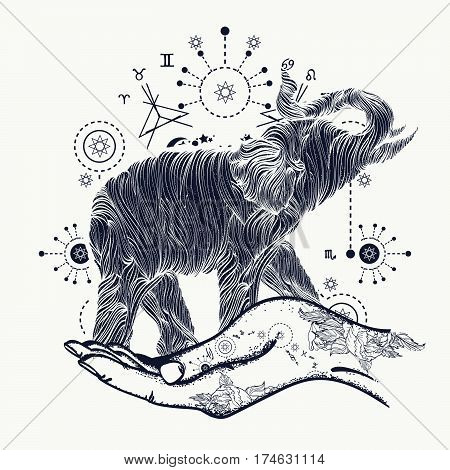 Elephant in the hands tattoo art. Elephant sacral style t-shirt design. Symbol of meditation tourism hipster. Elephant line art tattoo