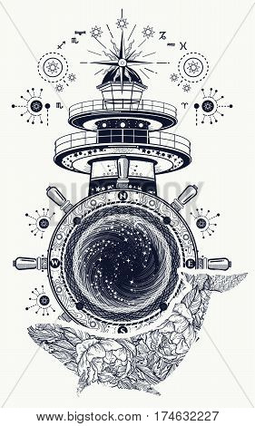Lighthouse and floral whale tattoo art. Mystical symbol of adventure dreams. Lighthouse steering wheel and Whale t-shirt design. Travel adventure outdoors symbol marine tattoo