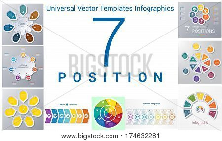 Universal Vector Templates Infographics for 7 positions. Business conceptual icons.