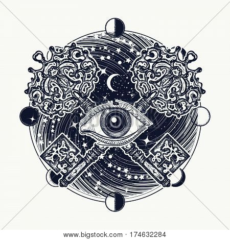 All seeing eye tattoo occult art masonic symbol and vintage magic key. Mystical esoteric symbol of secret knowledge. All seeing eye mystery of universe t-shirt design