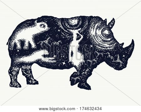 Rhinoceros tattoo art. Symbol Africa savannah travel. African woman elephant. Rhino double exposure t-shirt design