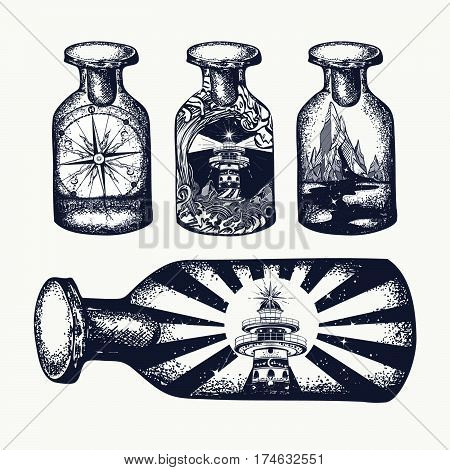 Compass and mountains in bottle tattoo art. Symbol tourism travel adventure. Lighthouse and tsunami compass and mountains vintage bottles t-shirt design