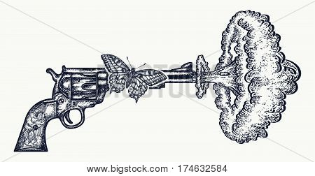 Gun shoots slow motion tattoo art. Symbol of love and hate war and peace. Revolver butterfly nuclear explosion creative idea t-shirt design