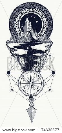 Mountains compass arrow tattoo. Adventure travel outdoors symbol boho style t-shirt design. Star river and mountains tattoo art hipster style