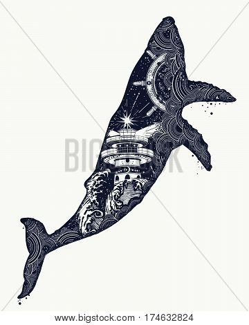 Whale tattoo art. Symbol Travel adventure tourism. Lighthouse and waves inside whale. Double exposure animals t-shirt design