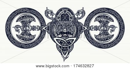 Viking tattoo Celtic style. North warrior head t-shirt design. Axe dragons. Scandinavian mythology viking art print