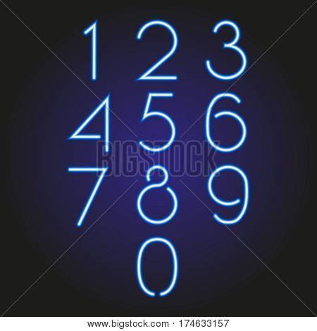 set of numbers glowing neon blue of vector illustration