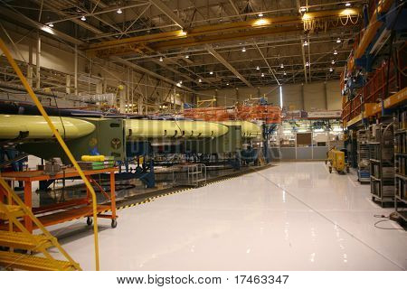 Inside Aerospace Production Facility Wing In A Jig