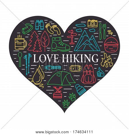 Love hiking concept. Outdoor linear icons in the shape of heart. Summer tourism items. Travel gear outline symbols with open paths. Vector illustration.