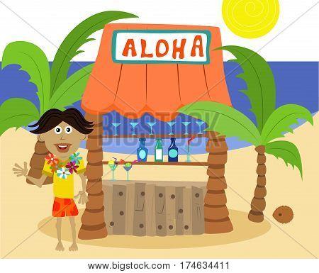 Vector cartoon happy bartender in front of a tiki bar.