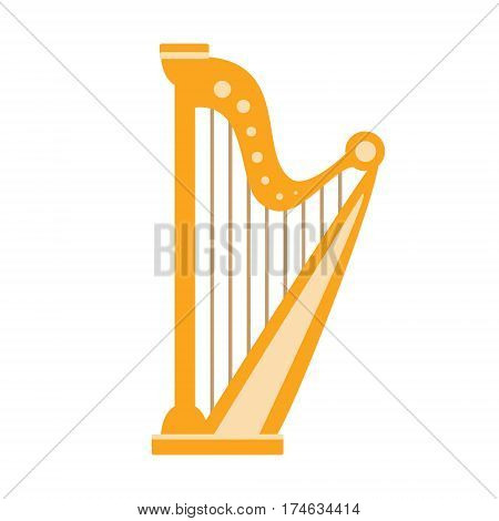 Harp, Part Of Musical Instruments Set Of Realistic Cartoon Vector Isolated Illustrations. Music Orchestra Related Object , Simple Clipart Item In Bright Color.