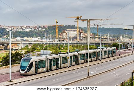 Rabat, Morocco - February 5, 2017: Modern French built tram in the centre of Rabat. The Rabat-Sale tramway system consists of 2 lines