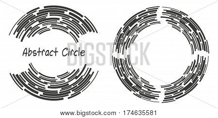 Abstract background logo circles with lines, geometric shapes, vector illustration
