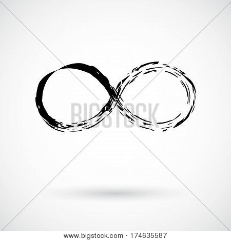 Infinity symbol. Hand painted with black paint. Grunge brush stroke. Modern eternity icon. Graphic design element. Infinite possibilities, endless process, lifetime concept. Vector illustration.