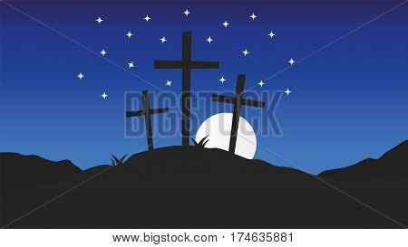 Three crosses standing on Golgotha.Good Friday christian vector background illustration