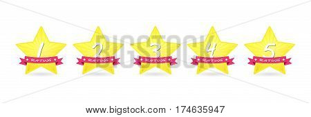 cartoon 5 gold star with ribbon icon set vector award quality illustration