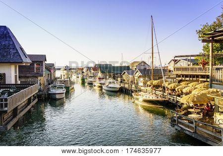 Leland, Michigan, August 8, 2016: Fishtown docks in Leland, Michigan - a popular summer vacation destination