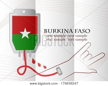 blood donation design made from the flag of Burkina Faso conceptual vector illustration.